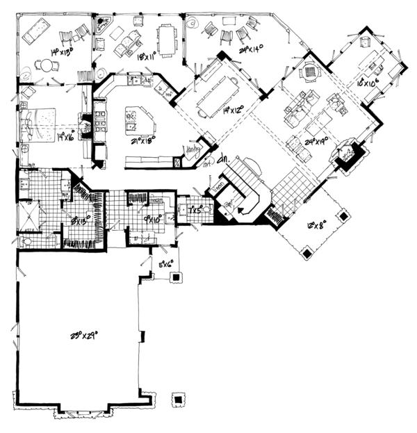 Ranch Floor Plan - Main Floor Plan Plan #942-31