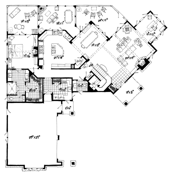 Ranch Floor Plan - Main Floor Plan Plan #942-31