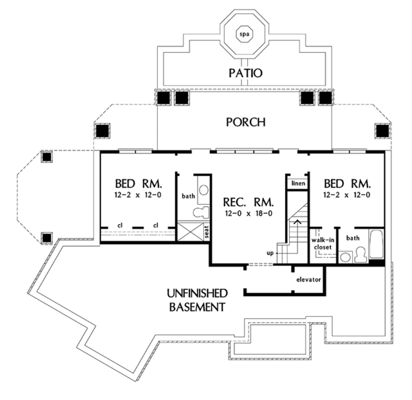 Traditional Floor Plan - Lower Floor Plan Plan #929-980