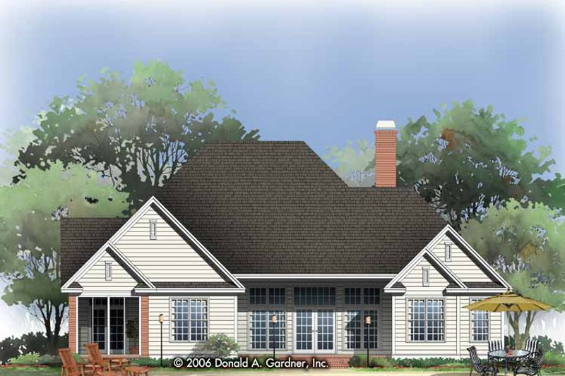 Traditional Exterior - Rear Elevation Plan #929-788 - Houseplans.com