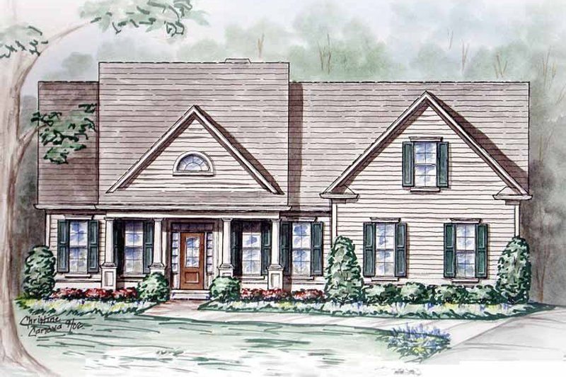 Craftsman Exterior - Front Elevation Plan #54-235