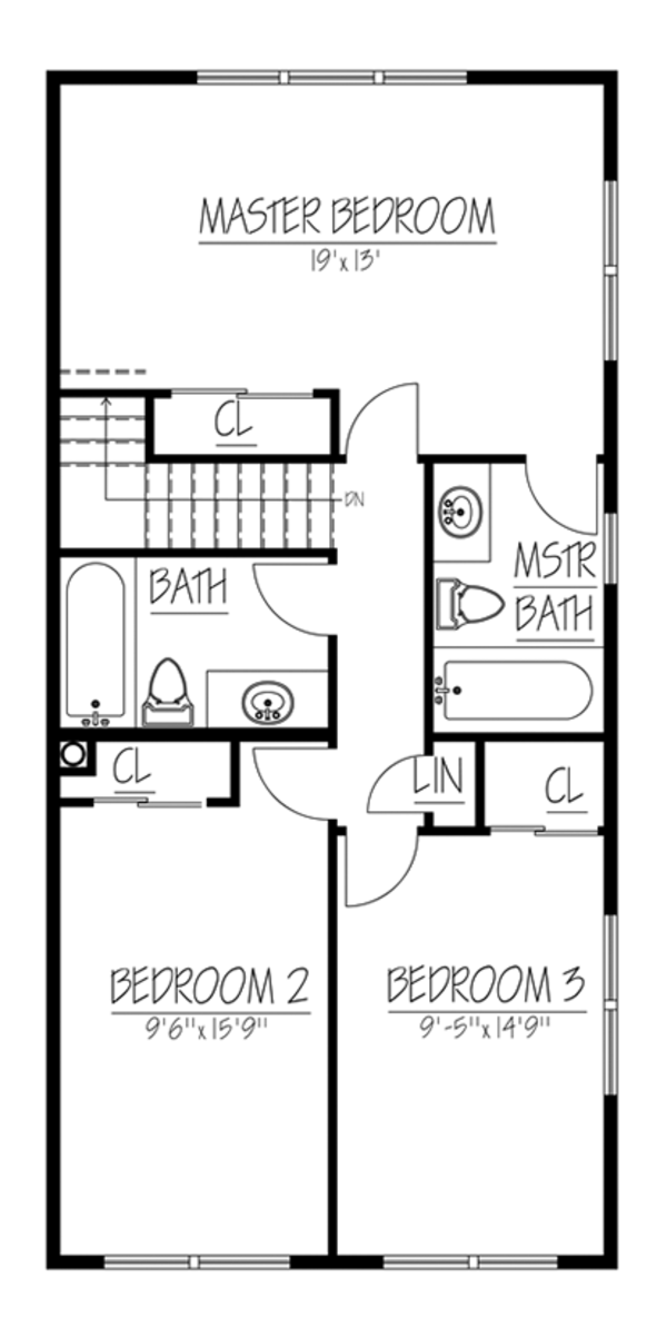 Traditional Floor Plan - Upper Floor Plan Plan #1061-33