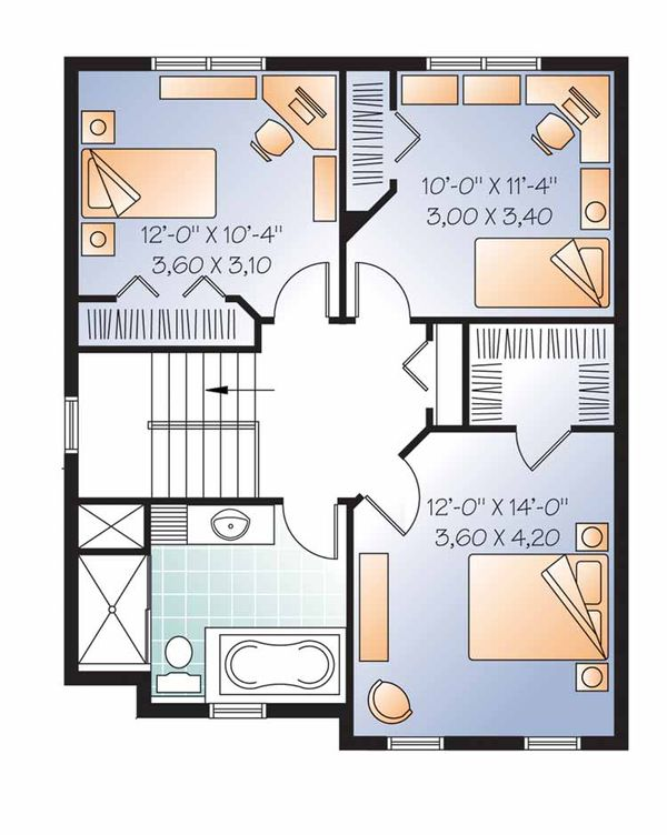 Country Floor Plan - Upper Floor Plan Plan #23-2550