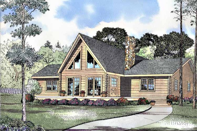 Log Exterior - Front Elevation Plan #17-2981