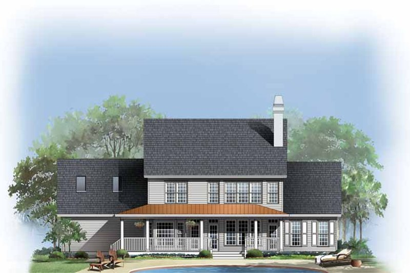 Country Exterior - Rear Elevation Plan #929-378