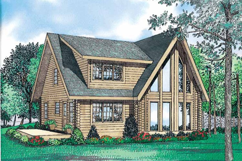 Log Exterior - Front Elevation Plan #17-3098