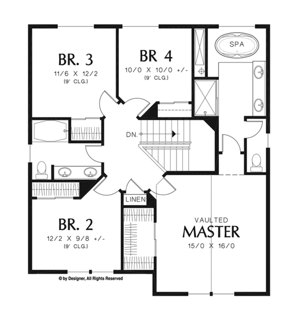 Craftsman Floor Plan - Upper Floor Plan Plan #48-920