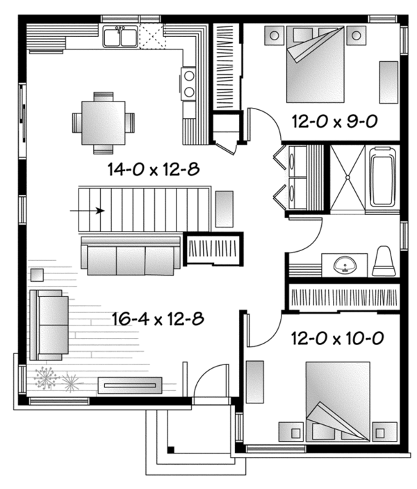 Contemporary Floor Plan - Main Floor Plan Plan #23-2524