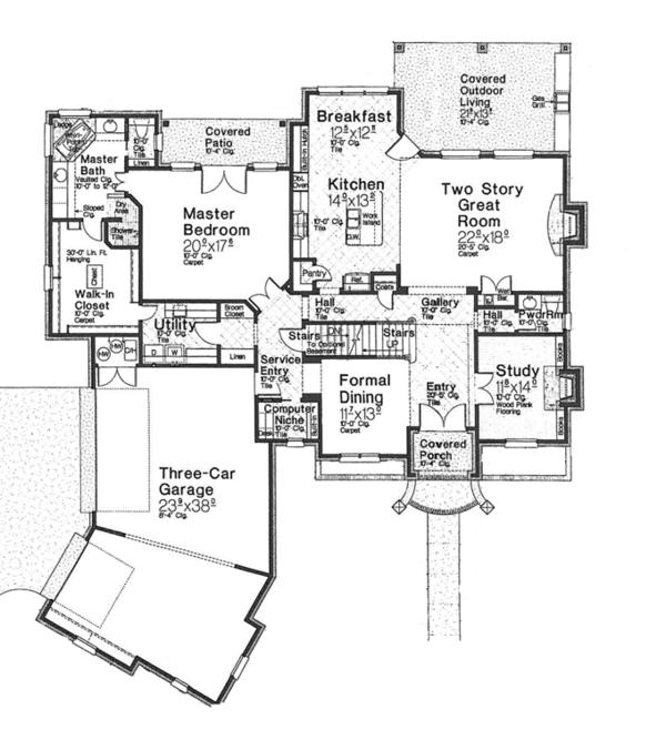 House Plan Design - European Floor Plan - Main Floor Plan #310-1277
