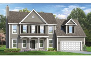 Colonial Exterior - Front Elevation Plan #1010-53