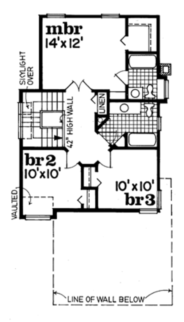 Traditional Floor Plan - Upper Floor Plan Plan #47-729