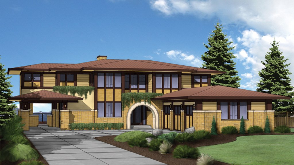 Prairie style house plan 4 beds 4 baths 5751 sq ft plan for Prairie style home plans