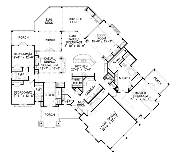 Craftsman Floor Plan - Main Floor Plan Plan #54-375