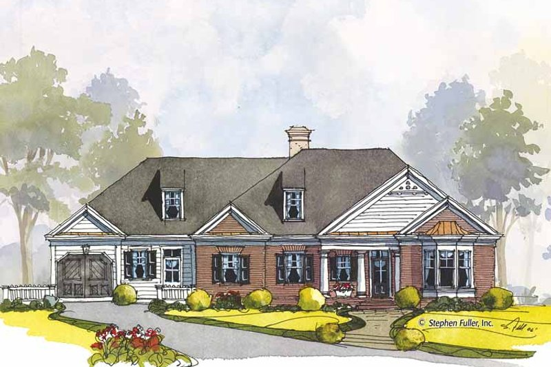 Colonial Exterior - Front Elevation Plan #429-440