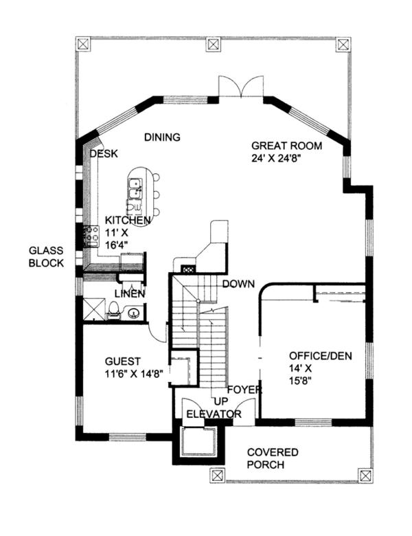 Contemporary Floor Plan - Main Floor Plan Plan #117-862