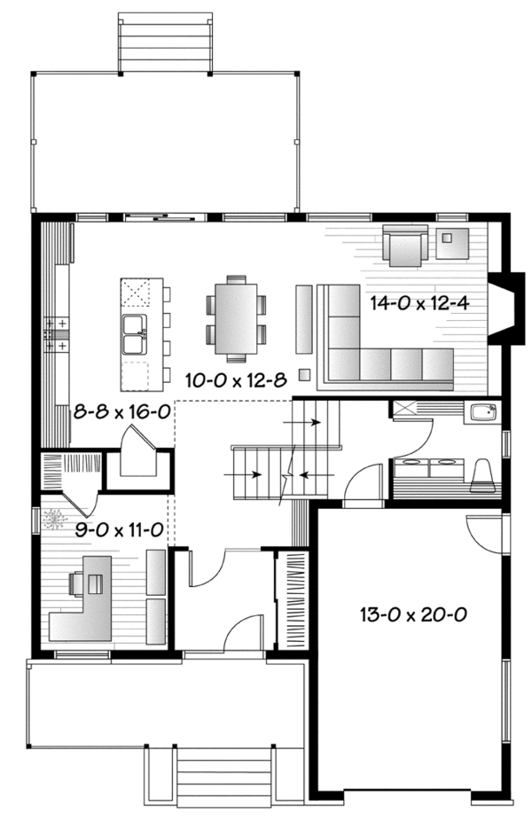 Contemporary Floor Plan - Main Floor Plan Plan #23-2580