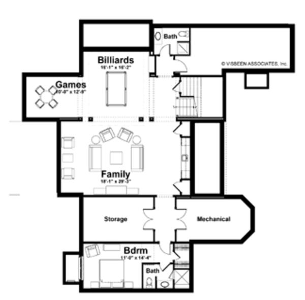 Craftsman Floor Plan - Lower Floor Plan Plan #928-171