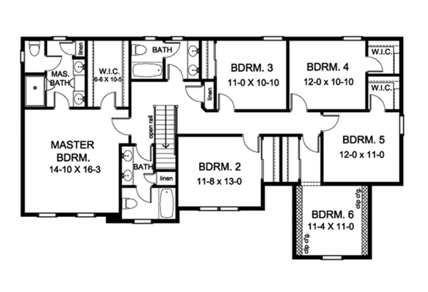 Colonial Floor Plan - Upper Floor Plan Plan #1010-173