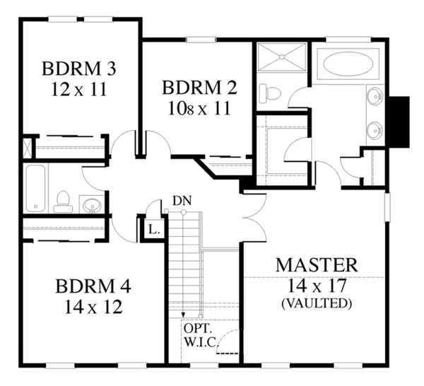 Colonial Floor Plan - Upper Floor Plan Plan #1053-71