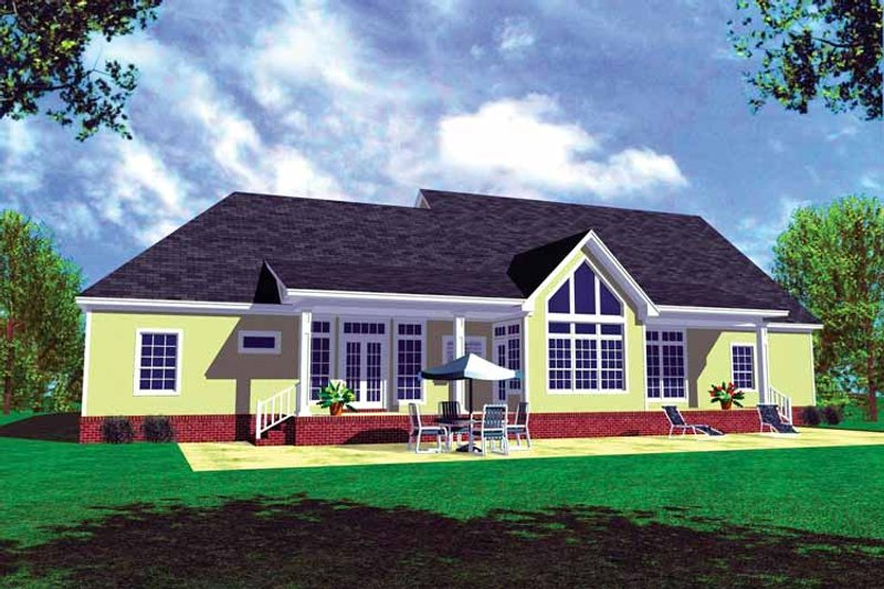 Country Exterior - Rear Elevation Plan #21-417 - Houseplans.com