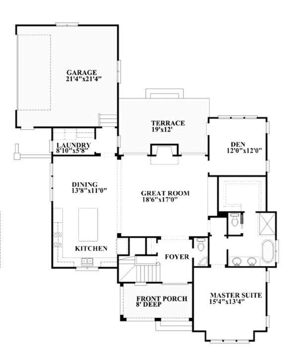 Mediterranean Floor Plan - Main Floor Plan Plan #991-27