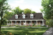 Ranch Style House Plan - 3 Beds 2 Baths 2213 Sq/Ft Plan #57-635 Exterior - Front Elevation