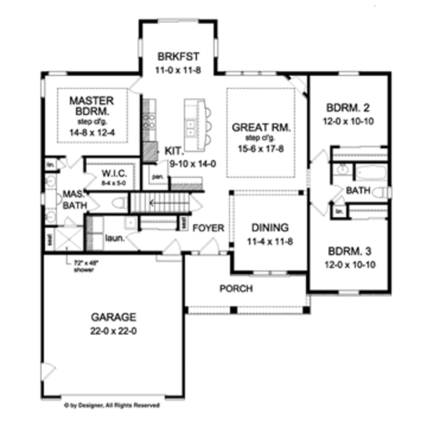 Ranch Floor Plan - Main Floor Plan Plan #1010-43