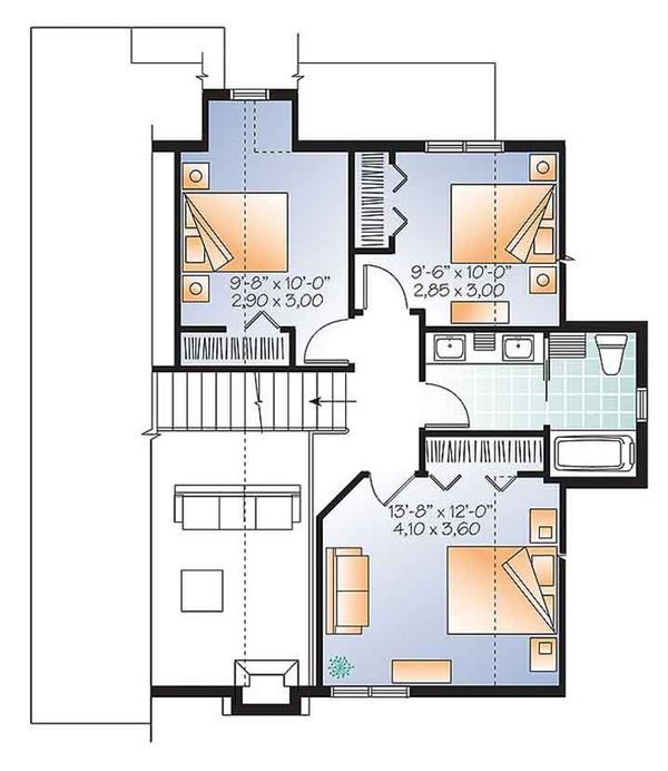 Traditional Floor Plan - Upper Floor Plan Plan #23-2610