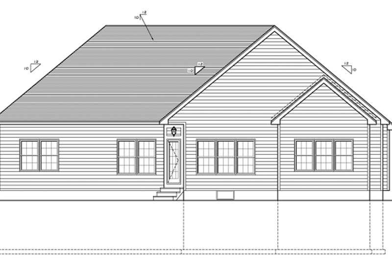 Ranch Exterior - Rear Elevation Plan #1010-81 - Houseplans.com