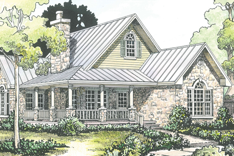 Country Exterior - Front Elevation Plan #140-165 - Houseplans.com