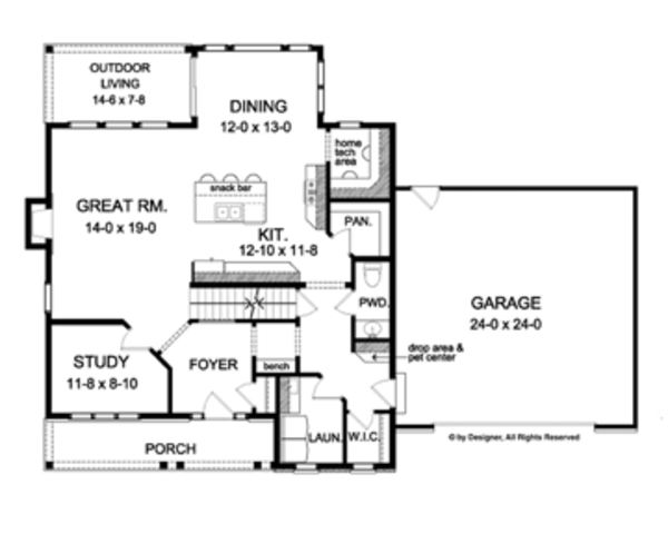 Colonial Floor Plan - Main Floor Plan Plan #1010-56