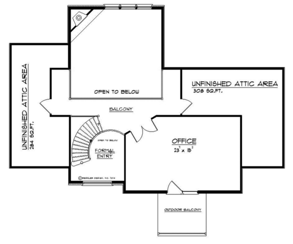 Craftsman Floor Plan - Upper Floor Plan Plan #1057-6