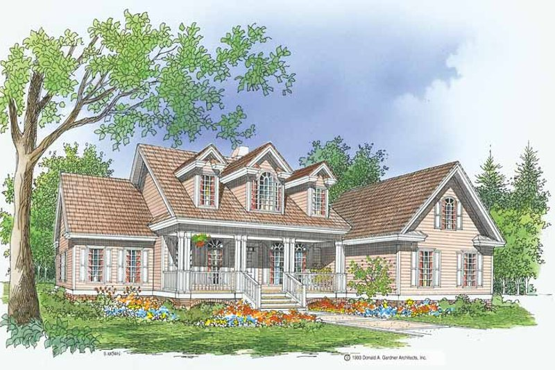 Country Exterior - Front Elevation Plan #929-218