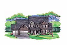 Colonial Exterior - Front Elevation Plan #51-1022