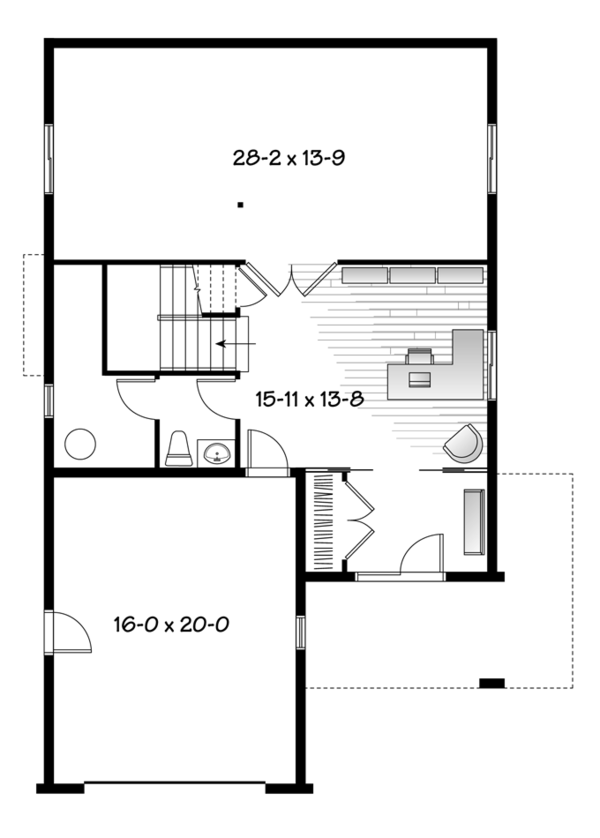 Country Floor Plan - Lower Floor Plan Plan #23-2495