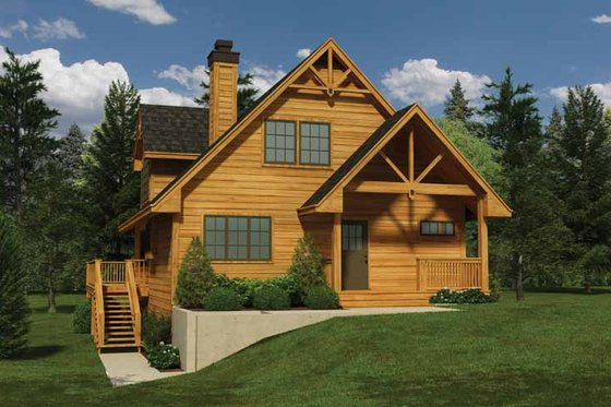 Cabin Exterior - Front Elevation Plan #118-150