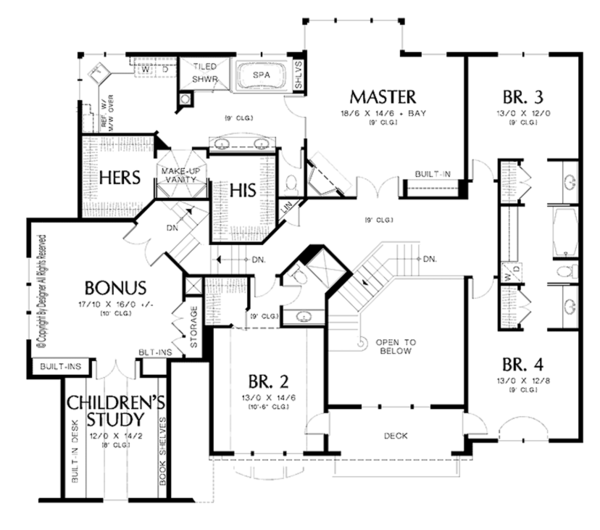 Craftsman Floor Plan - Upper Floor Plan Plan #48-854