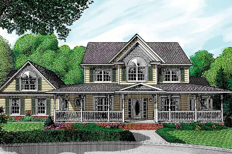 Architectural House Design - Victorian Exterior - Front Elevation Plan #11-259