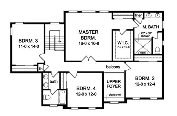 Colonial Floor Plan - Upper Floor Plan Plan #1010-168