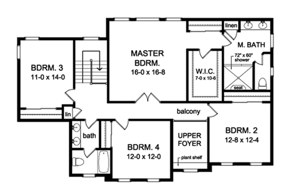 Colonial Floor Plan - Upper Floor Plan Plan #1010-168