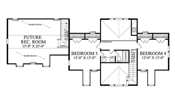 Country Floor Plan - Upper Floor Plan #137-366