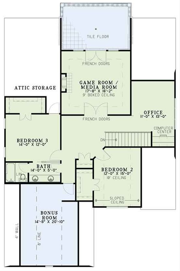 Home Plan - Tudor Floor Plan - Upper Floor Plan #17-3405