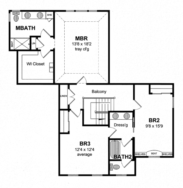 Traditional Floor Plan - Upper Floor Plan Plan #316-275