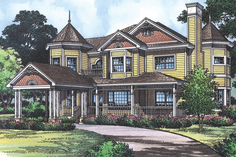 Victorian Exterior - Front Elevation Plan #417-668 - Houseplans.com