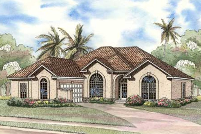 Mediterranean Exterior - Front Elevation Plan #17-3368