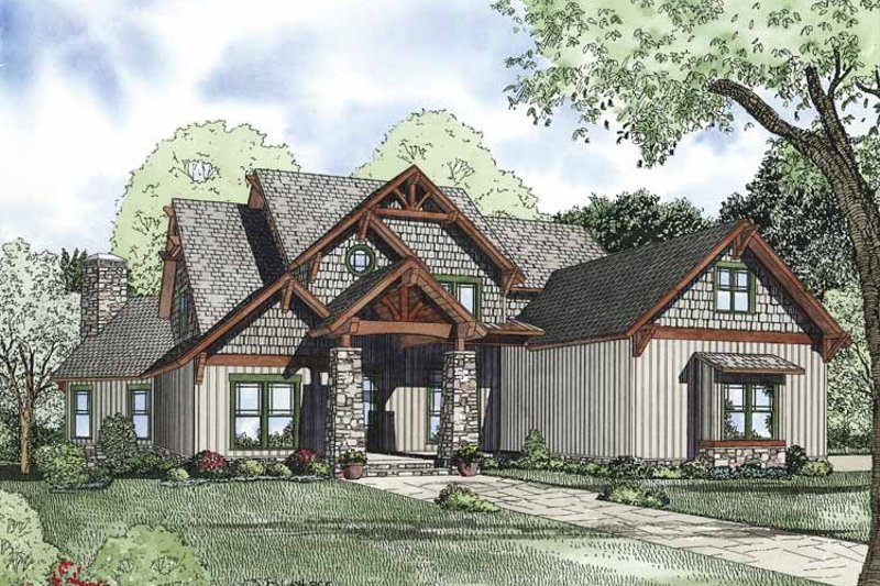 Craftsman Exterior - Front Elevation Plan #17-3323