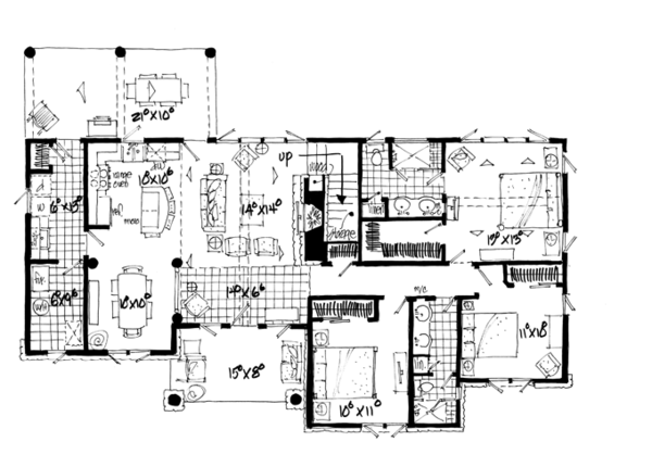 Craftsman Floor Plan - Main Floor Plan Plan #942-17