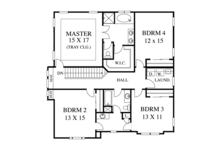 Colonial Floor Plan - Upper Floor Plan Plan #1053-51