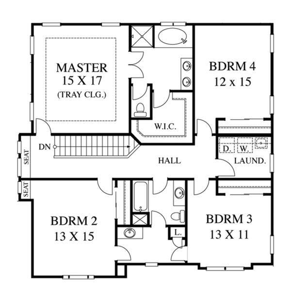 Colonial Floor Plan - Upper Floor Plan Plan #1053-51
