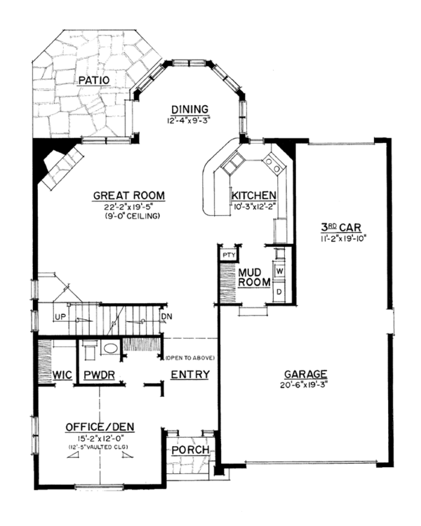 Colonial Floor Plan - Main Floor Plan Plan #1016-105